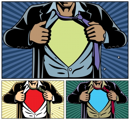 Superhero under cover, comic book style. Add your logo on the shirt. Colors are very easy to change. No transparency and gradients used.