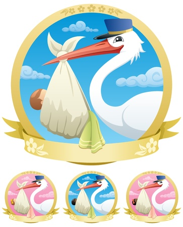 Stork is delivering a baby. The illustration is in 4 different versions. No transparency used. Basic (linear) gradients.