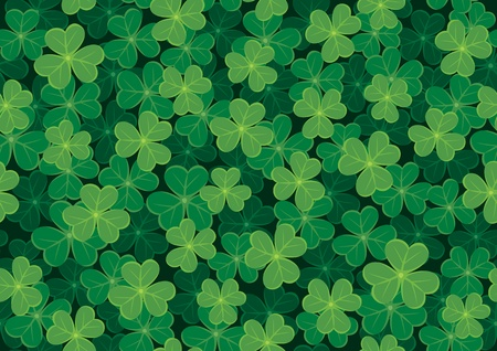 Illustration pour Seamless clover tile. Place them together to create a larger background. No transparency and gradients used.  - image libre de droit