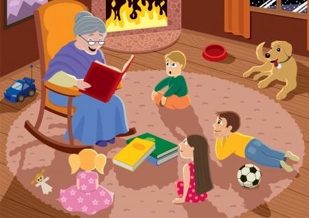 Granny is reading fairy tales to her grandchildren.