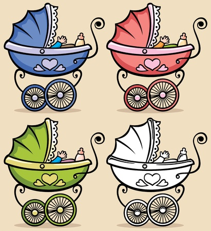 Illustration for Retro baby stroller in 4 versions  No transparency and gradients used   - Royalty Free Image