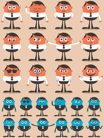 Retro businessman character in 12 different emotions and 24 versions.  Easy to change colors. No transparency and gradients used.