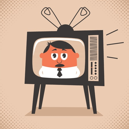 Cartoon illustration of retro television set broadcasting the news. No transparency and gradients used.