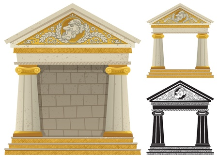 Cartoon Greek frame with copy space in it, to be used as frame. No transparency used. Basic (linear) gradients.