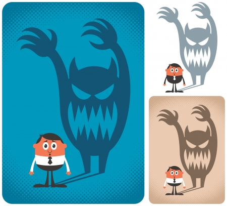 Man haunted by his shadow. The illustration is in 3 versions.