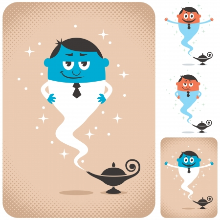 Genie coming out of magic lamp. The illustration is in 4 different versions.