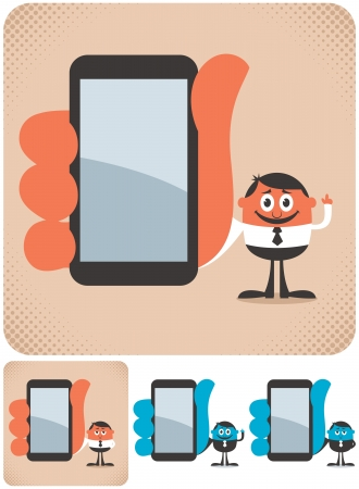 Businessman showing you something on his smartphone  The illustration is in 4 versions   No transparency and gradients used