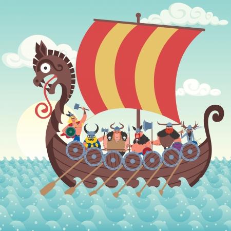 Cartoon Viking ship sailing.