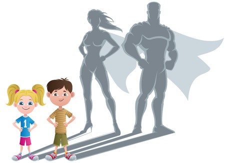 Conceptual illustration of little children with superhero shadows.