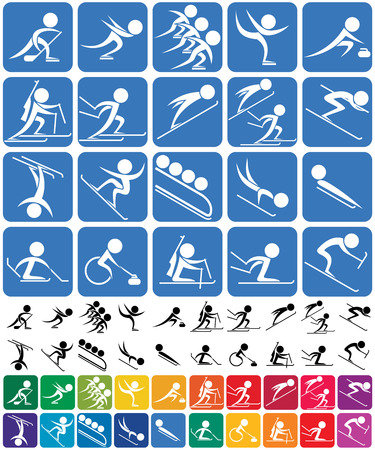 Set of 20 pictograms of the sports competition winter sports, in 3 versions. No transparency and gradients used.