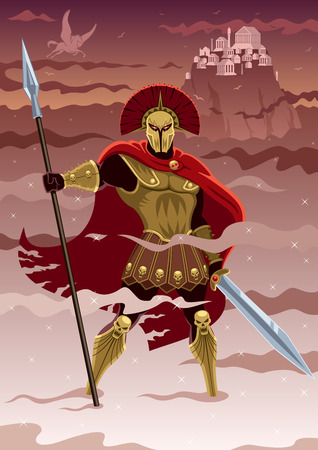 Illustration pour Ares, god of war  No transparency used  Basic  linear  gradients  - image libre de droit