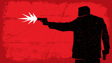 Illustration of man shooting with pistol. No transparency and gradients used.