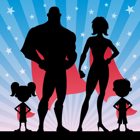 Foto de Square banner of superhero family. No transparency used. Basic (linear) gradients. - Imagen libre de derechos
