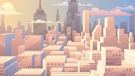 Illustration pour Cityscape at sunrise. Basic (linear) gradients used. No transparency. - image libre de droit