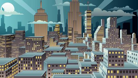 Illustration pour Cityscape at night. Basic (linear) gradients used. No transparency. - image libre de droit