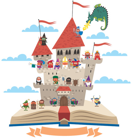 Illustration pour Open book with fairy tale castle on it, on white background. No transparency and gradients used. - image libre de droit