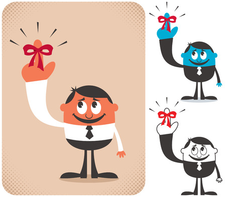 Illustration of businessman with red reminder ribbon on his finger in 3 versions.