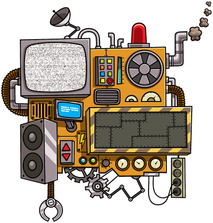 Fictional cartoon machine with copy space isolated over white background.