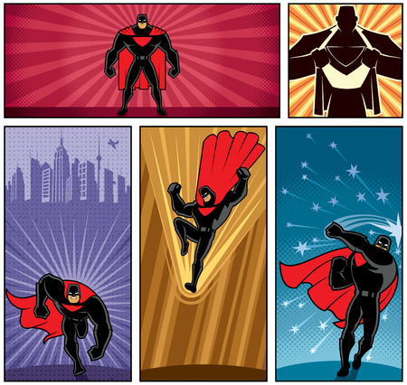 Set of 5 superhero banners. No transparency and gradients used.