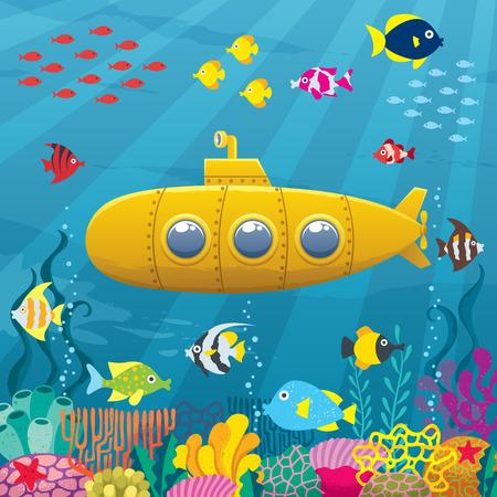 Illustration pour Cartoon yellow submarine underwater. - image libre de droit