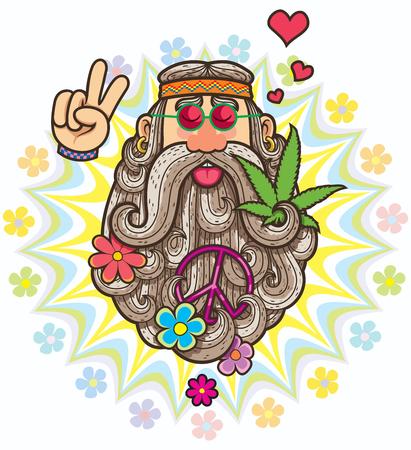 Illustration pour Cartoon illustration of hippie. - image libre de droit