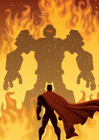 Superhero facing giant evil robot.