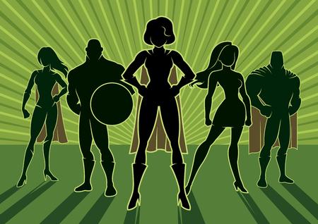Ilustración de Team of superheroes. - Imagen libre de derechos