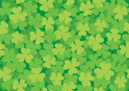 Illustration pour Simple green seamless pattern of clover meadow illustration. - image libre de droit