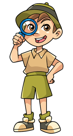 Cartoon illustration of happy little explorer with magnifier.