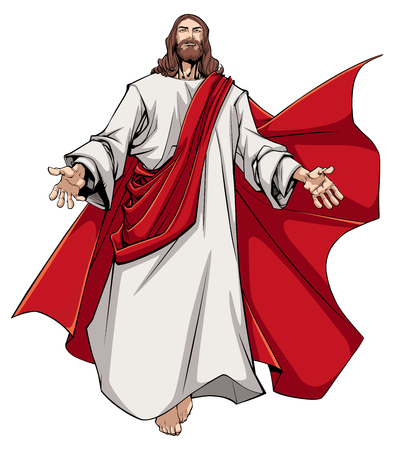 Illustration pour Illustration of Jesus Christ greeting you with open arms. - image libre de droit