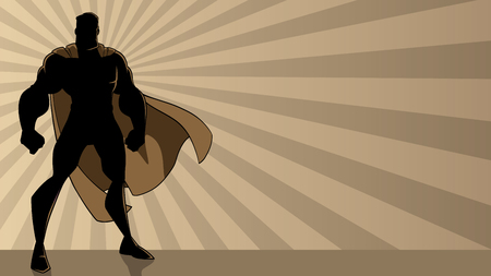 Illustration pour Superhero standing tall on abstract ray light background with copy space. - image libre de droit