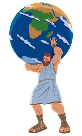 Illustration pour The Titan Atlas holding the Earth globe. - image libre de droit