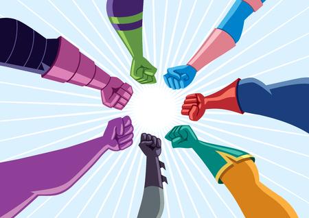 Illustration pour Conceptual illustration depicting team of superheroes assembling against common enemy. - image libre de droit
