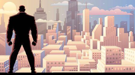 Illustration pour Businessman watching over city at sunrise or sunset. - image libre de droit