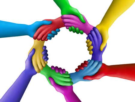 Multicolored plasticine hands on a white background