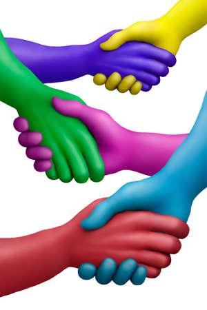 Photo pour Multicolored plasticine hands on a white background - image libre de droit