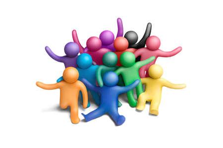 Foto de Multicolored group of plasticine people on a white background - Imagen libre de derechos
