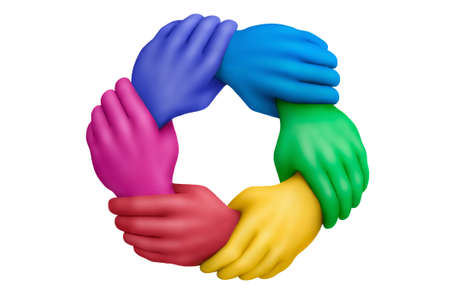 Connected muticolored plasticine hands on a white background