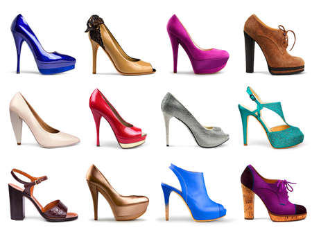 Set of different,multicolored female shoes on a white background in profile 12 pieces