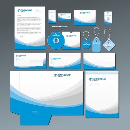 Stationery set with abstract blue and gray graphics. All items are grouped and on separate layes for easy editing.