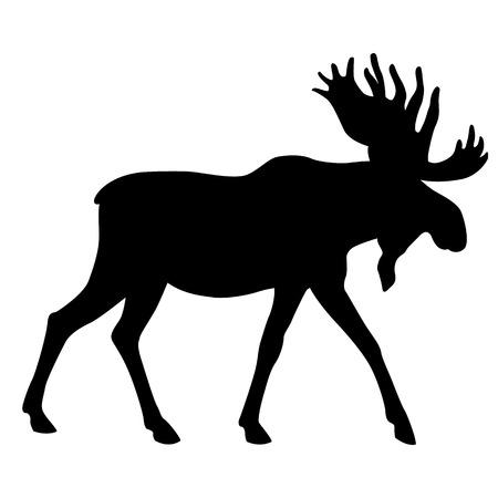 Ilustración de adult moose go black silhouette - Imagen libre de derechos