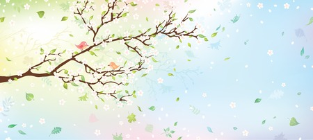 Spring tree background. Nature background for your design with place for your text on the right. Vector illustration.