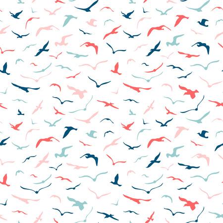 Ilustración de Seamless seagulls pattern - Imagen libre de derechos