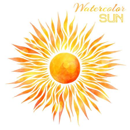 Ilustración de Watercolor sun vector illustration. Hand-drawn bright watercolor sun isolated on white background. - Imagen libre de derechos