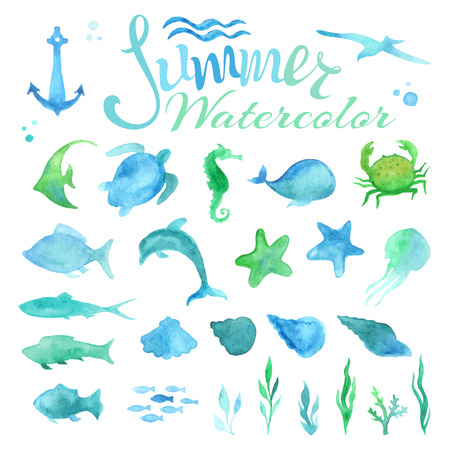 Vector set of watercolour marine life. Various fish, starfish, crab, whale, shell, sea horse, jellyfish, dolphin, turtle, algae, anchor, waves isolated on white background.
