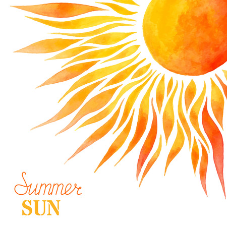 Watercolor summer sun background. Bright hand-painted sun in right corner on white background. There is place for your text.