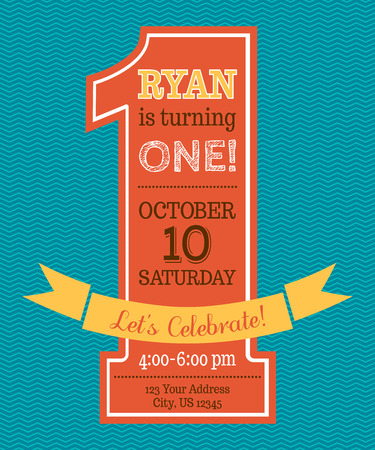 One year Birthday invitation. Flat vector template. Vector illustration.