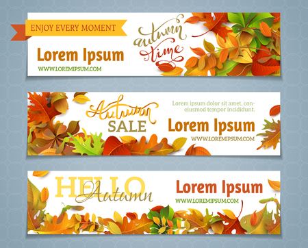 Vector set of autumn banners. Three templates for your design. Various bright fall leaves and hand-lettering. There are places for your text on white area.のイラスト素材
