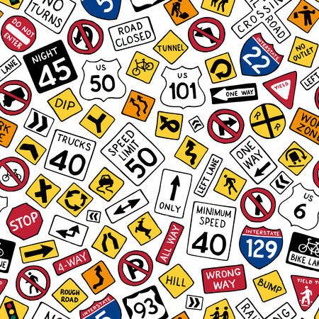 Illustration pour Seamless pattern of cartoon american road signs. Vector hand-drawn traffic signs background. Boundless texture can be used for web page backgrounds, wallpapers, wrapping papers, invitation, congratulations and children designs. - image libre de droit
