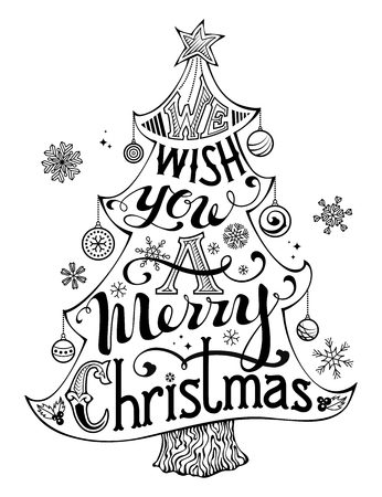 We Wish You a Merry Christmas. Hand-written text, holly berry, Christmas balls, snowflakes, star on the top of Christmas tree. Black and white illustration. Isolated on white background.